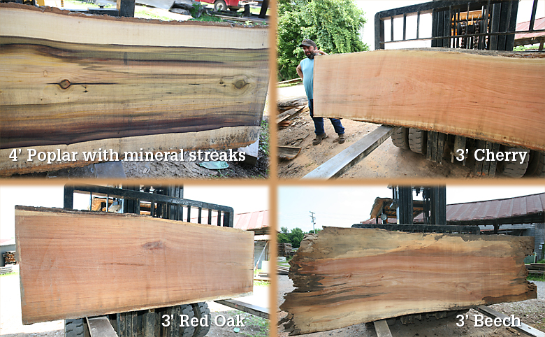 Poplar and cherry logs cut for large slabs